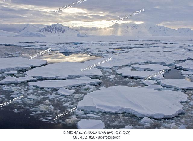 Brash ice and first year floe ice often called pancake ice south of the Antarctic Circle on the west side of the Antarctic Peninsula during the summer months...