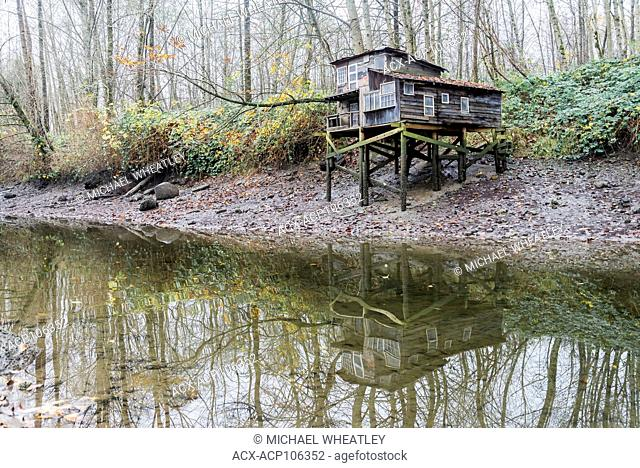 Malcolm Lowry inspired Squatters shack art installation by Ken Lum, Maplewood Flats Conservation Area, N. Vancouver, British Columbia, Canada
