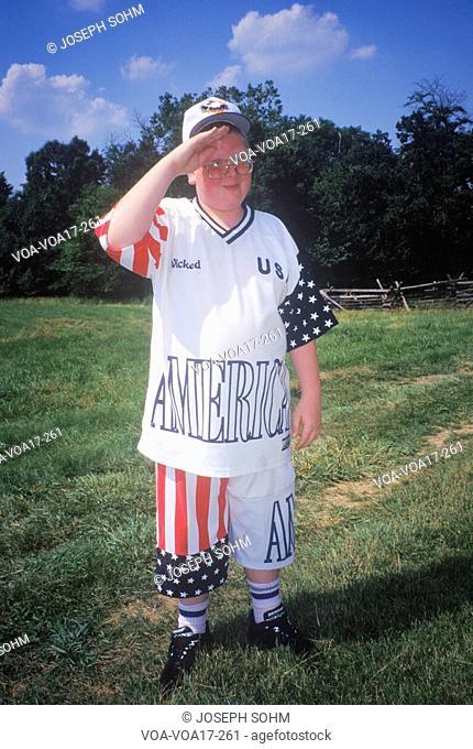 Boy Saluting While Dressed in Patriotic Clothing, Mt. Vernon, Alexandria, Virginia