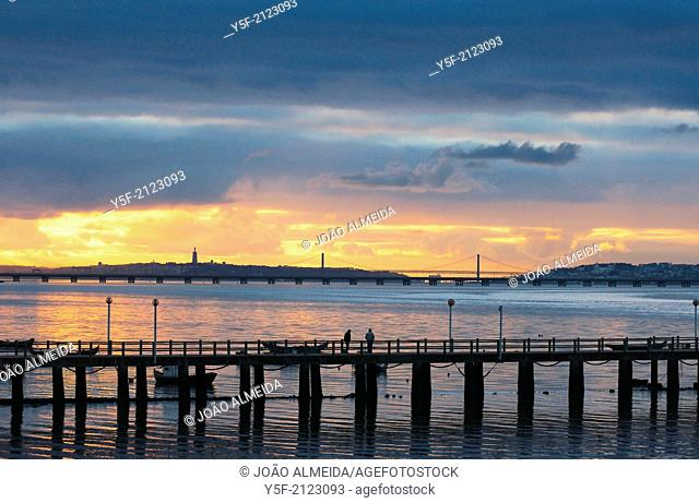 Estuary of Tagus river with Lisbon on the background, seen from Alcochete
