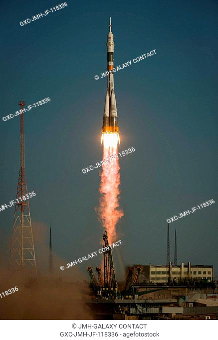 The Soyuz rocket with Expedition 33 crew members, Soyuz Commander Oleg Novitskiy, Flight Engineer Kevin Ford of NASA, and Flight Engineer Evgeny Tarelkin of...
