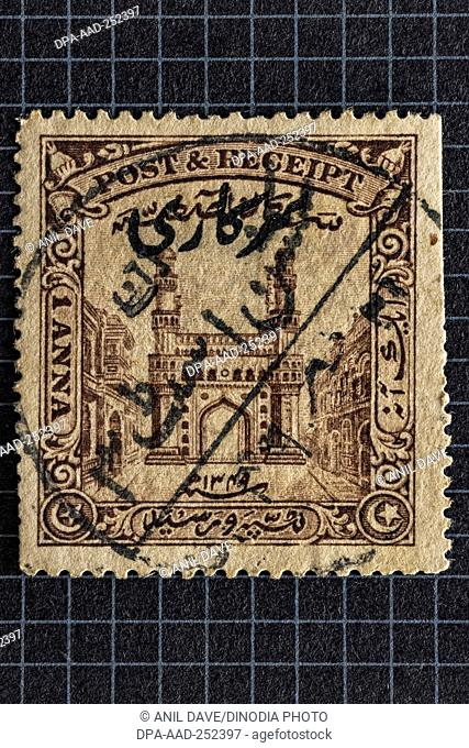 Indian postage stamp, 1 anna, india, asia