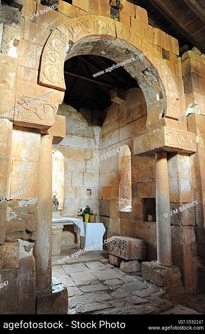Santa Maria Hermitage, visigothic church 7-8th century. Inside. Quintanilla de las Viñas, Burgos province, Castilla y Leon, Spain