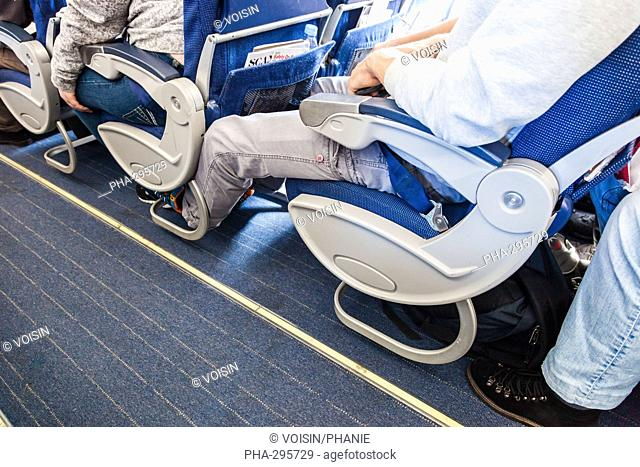 Economy class seating on plane
