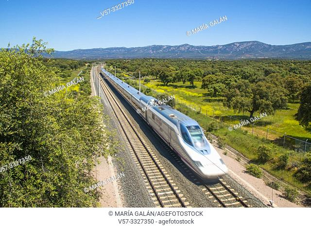 AVE high speed train traveling along Valle de Los Pedroches. Sierras de Cardeña y Montoro Nature Reserve, Cordoba province, Andalucia, Spain