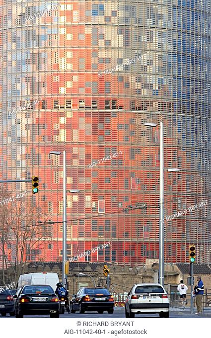 Torre Agbar, Barcelona, Catalonia, 2005. Exterior surface. Architect: Jean Nouvel in collaboration with b720 Arquitectura, Garcia-Ventosa Arquitectura