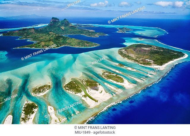 Barrier reef around Mt O'Temanu aerial, Bora Bora, Tahiti
