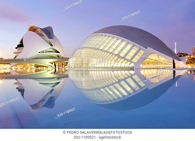 evening in the city of arts and sciences, Valencia, Spain