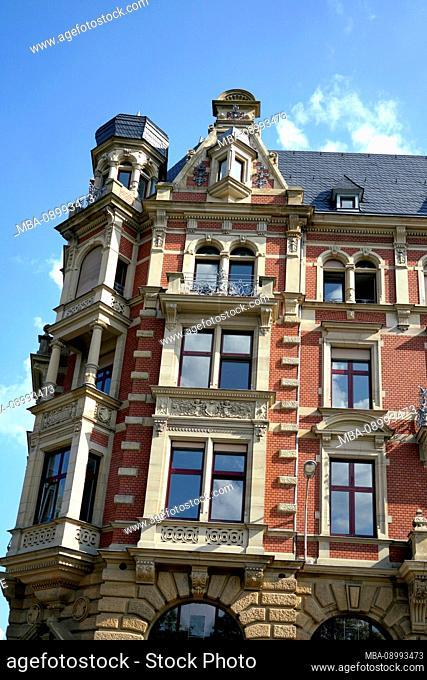 France, Alsace, Strasbourg, Residential house, Facade, Dormer, Bay, Old building