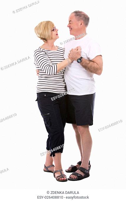 retired couple wearing casual outfits on white isolated background