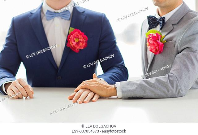 people, homosexuality, same-sex marriage and love concept - close up of happy married male gay couple in suits with buttonholes and bow-ties holding hands on...