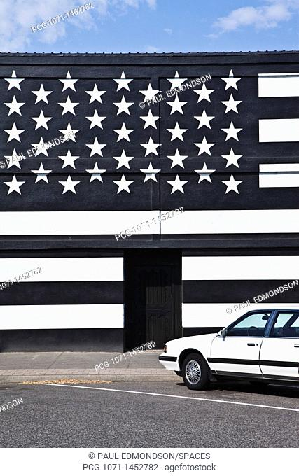 Building with an American Flag Paint Job