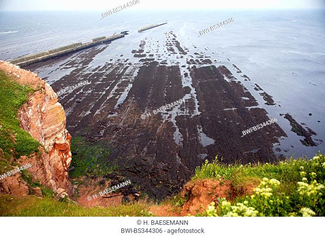 rocky tidal flat at island Helgoland, Germany, Schleswig-Holstein, Heligoland