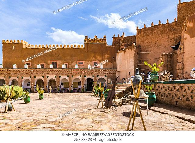 Courtyard of Kasbah of Tifoultoute is a kasbah in Ouarzazate Province, Morocco located 8 kilometres west of the city of Ouarzazate