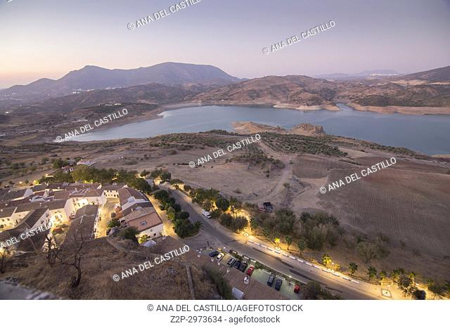 Sunset in Zahara de la Sierra in Grazalema mountains Cadiz province, Andalusia, Spain. Panorama from above