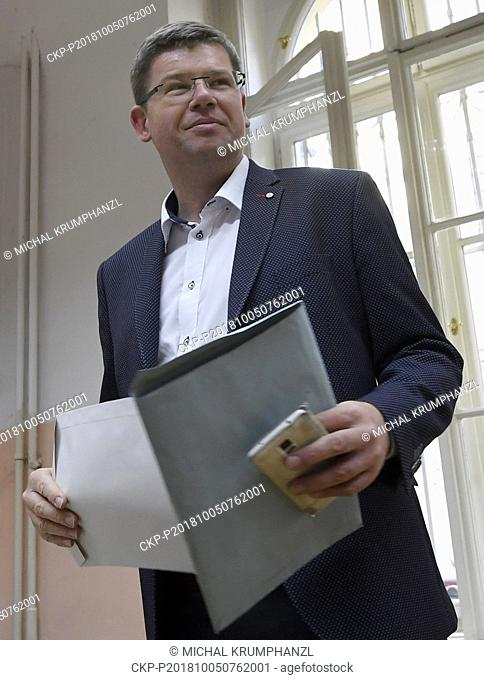 Jiri Pospisil, Chairman of the TOP 09 political party casts their ballot at a polling station during the First day of local elections in Prague, Czech Republic