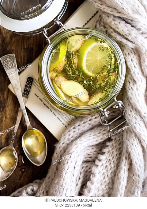 Hot ginger lemon thyme honey tea