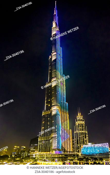The Burj Khalifa at night in Dubai, UAE