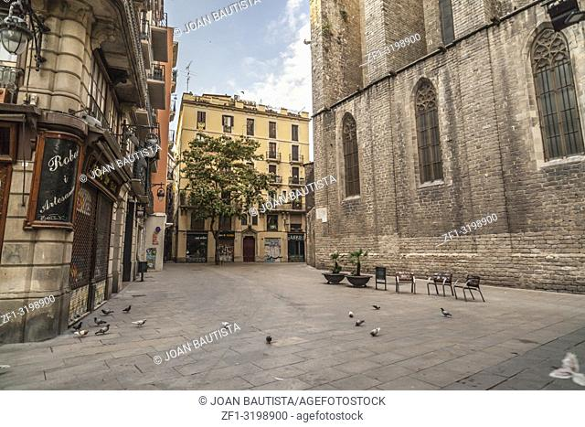 Street view gothic quarter in Barcelona