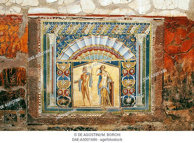 Neptune and Amphitrite, mosaic in the summer Triclinium of the House of Neptune and Amphitrite, Herculaneum (UNESCO World Heritage Site, 1997), Campania, Italy