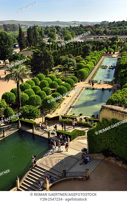 View of gardens and ponds from Tower of Lions Alcazar of Christian Kings Cordoba