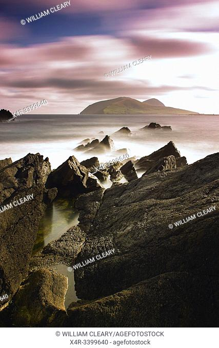 View looking out to the Great Blasket Island, Dingle Peninsula, County Kerry, Ireland