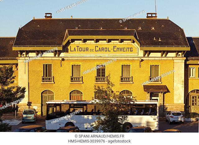 France, Pyrenees Orientales, Natural regional park Catalan Pyrenees, Tet Valley, Le Train Jaune, station of Latour de Carol at sunrise