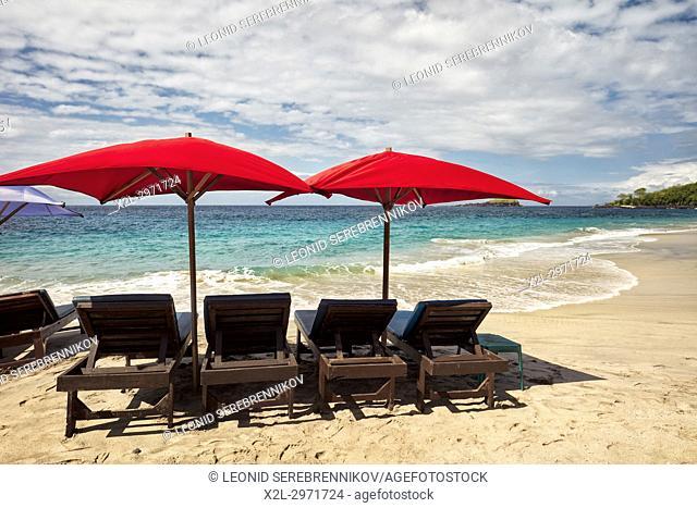 Sun beds for rent on White Sand Beach (Pantai Bias Putih). Manggis subdistrict, Karangasem Regency, Bali, Indonesia
