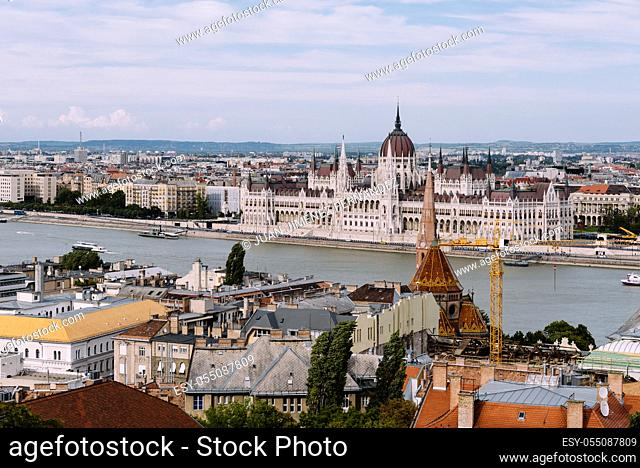 Budapest, Hungary - August 12, 2017: Cityscape of Budapest with Parliament building and Danube river