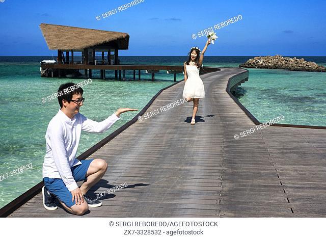 Asian honeymoon in The Residence Hotel and Resort, Gaafu Alifu Atoll. Maldives Islands