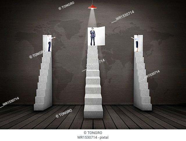business people standing on top of the stairs