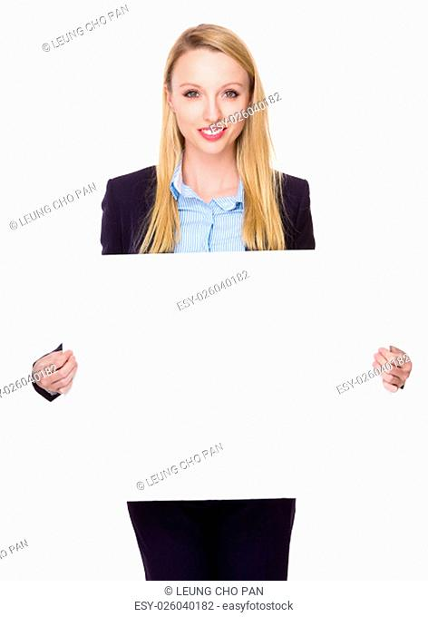 Caucasian Young Businesswoman show with white banner