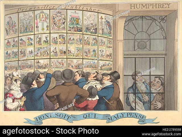 Honi. Soi. Qui. Mal. Y. Pense: The Caricature Shop of G. Humphrey, 27 St. James.., August 12, 1821. Creator: Theodore Lane