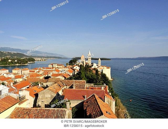 Oldest quarter of Rab Town, with Belfry of St Justine's Church, Great Bell Tower of St Mary's Cathedral, and Campanile of St Andrew's Monastery as seen from...