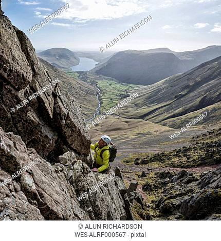 England, Lake District, climber in Wasdale Valley