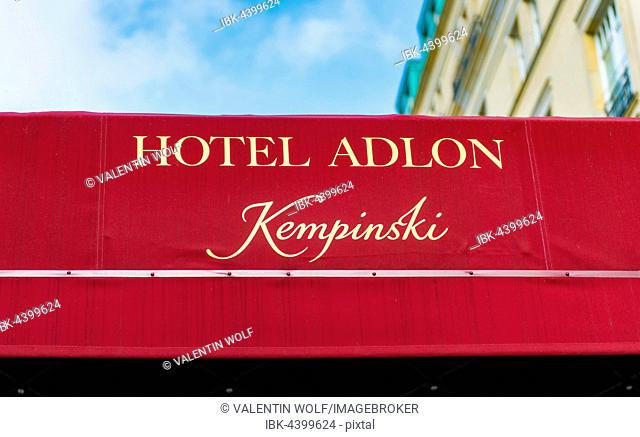 Awning at the entrance with inscription Hotel Adlon Kempinsky, Unter den Linden, Berlin-Mitte, Berlin, Germany