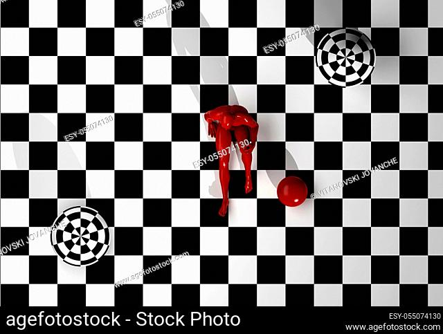 Checkered composition with man end ball made in 3d