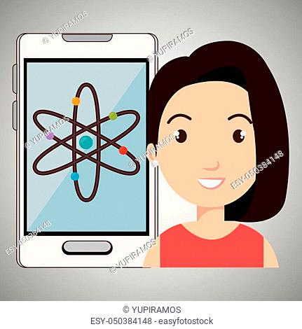 woman smartphone science isolated icon design, vector illustration graphic