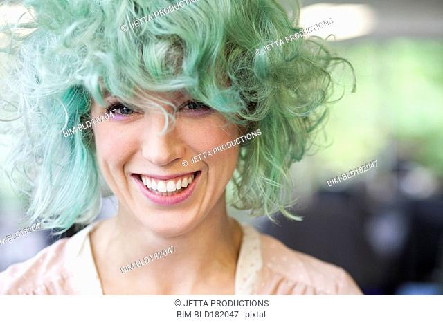 Caucasian woman with dyed hair
