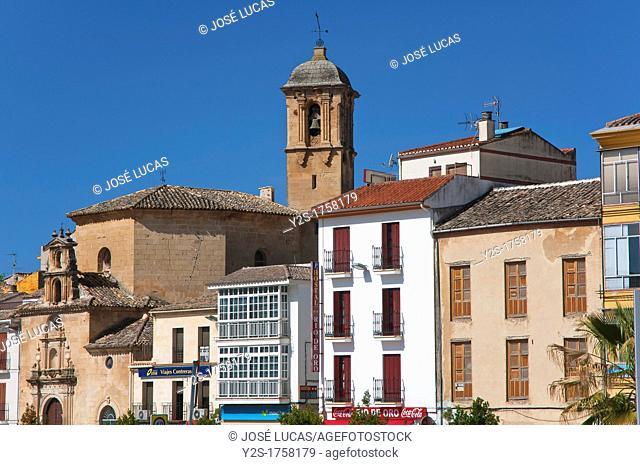 Streetscape with Church of San Anton, Alcala la Real, Jaen-province, Spain