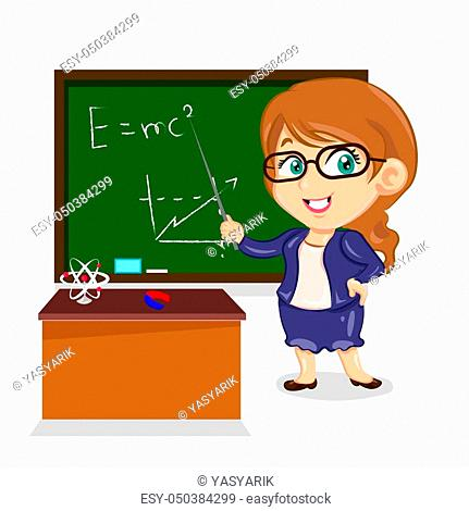 physics teacher brunette woman with stick near the board