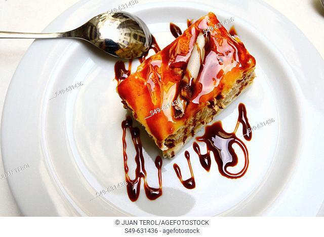 Piece of cake on white dish