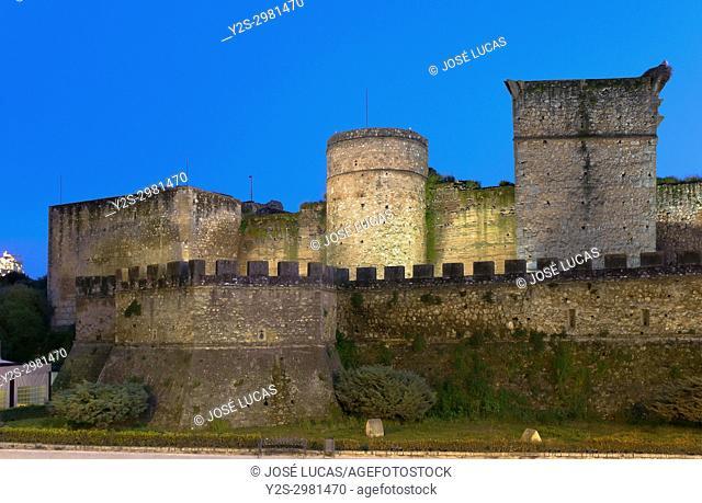 Castle of the Guzmanes at dusk - 15th century, Niebla, Huelva province, Region of Andalusia, Spain, Europe