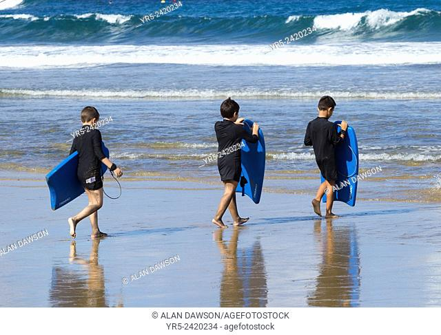 Bodyboarding lesson for Spanish schoolchildren at La Cicer, Playa de Las Canteras, Las Palmas, Gran Canaria, Canary Islands, Spain