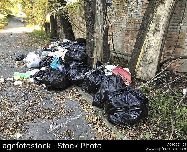 Waste on the street in Vladivostok, Far East, Russia, Russian