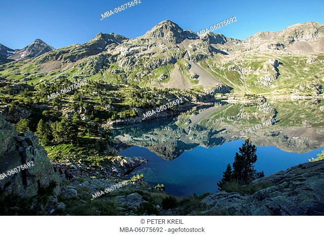 Mirroring on water, distant view, Spain, the Pyrenees, Pirineos, mountain, landscape