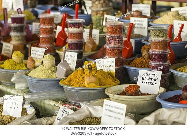 Armenia, Yerevan, G. U. M. Market, food market hall, spices