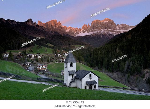 Europe, Dolomites, Italy,Trentino-Alto Adige region,The Latemar Massif,Bolzano province, San Ziprian church,Tires district, South Tyrol