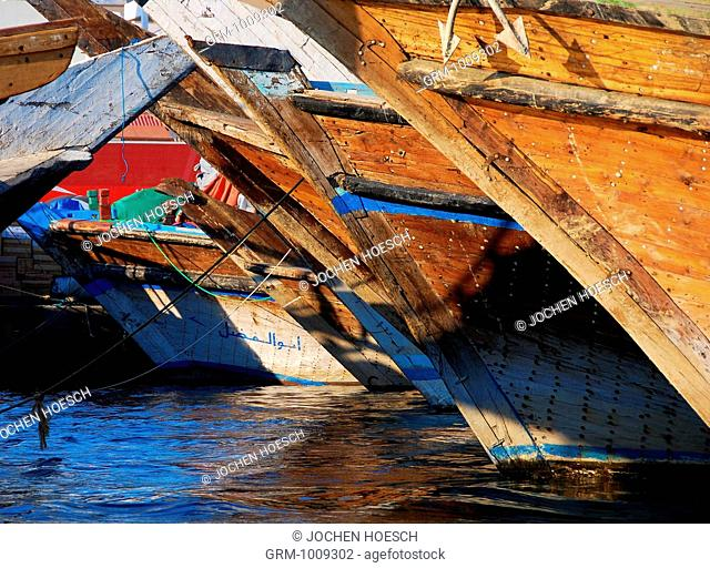 Dhows traditional wooden boats in Dubai, UAE