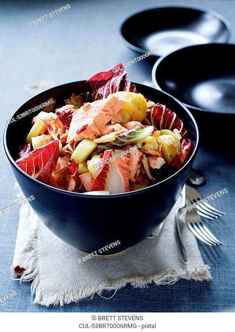 Bowl of salmon and potato salad